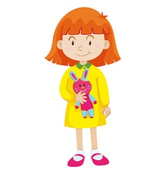 Little girl with rabbit doll vector