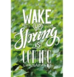 Spring is cominglettering on green leaves vector