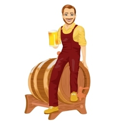Repairman sitting on wooden barrel with beer vector