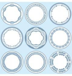 9 feminine blue labels set vector image