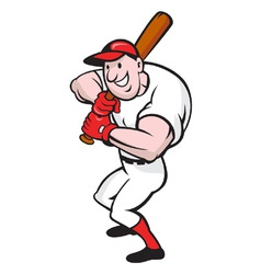 Baseball player batting cartoon vector