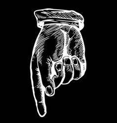 Sketch of a Hand Pointing Down vector image