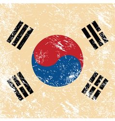 South korea retro flag vector image