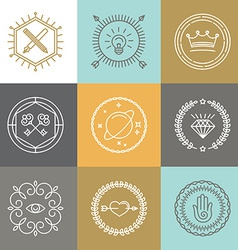 abstract hipster signs and logo design elements vector image