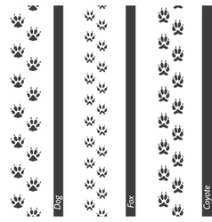 Animal footprints seamless border set vector image vector image