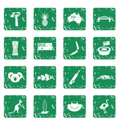 Australia travel icons set grunge vector