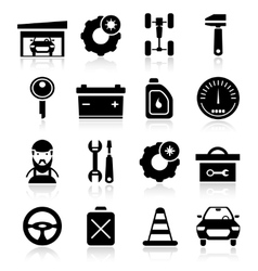 Auto service black white icons set vector