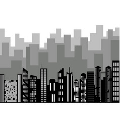 black random city skyline cityscape on white vector image vector image