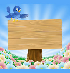 Blue bird wooden nature sign vector