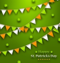 Bunting Pennants in Irish Colors and Clovers for vector image vector image