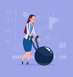 Business woman chain bound hands credit debt vector