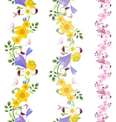 collection vertical seamless borders with crocus vector image vector image