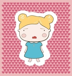 Cute blonde cartoon cry baby girl vector