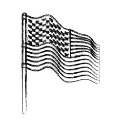 flag united states of america in pole waving to vector image