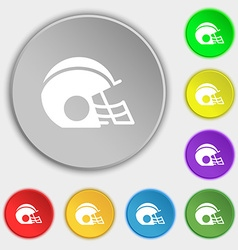 Football helmet icon sign symbol on eight flat vector