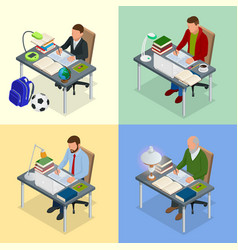four isometric pictures on the subject of training vector image