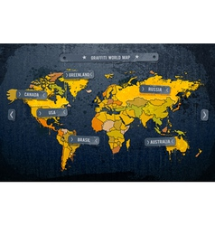 Grunge painted world map vector