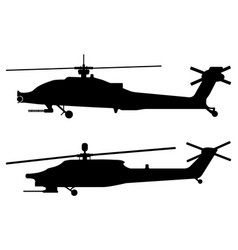 helicopter silhouette military equipment icon vector image vector image