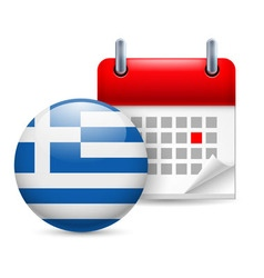 Icon of national day in greece vector image vector image