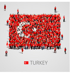 Large group of people in the shape of turkish flag vector