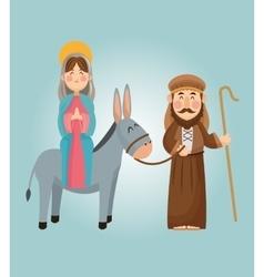 Mary and joseph cartoon design vector