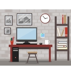 Modern interior for work vector