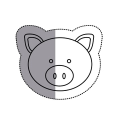 Monochrome contour sticker with pig head and vector