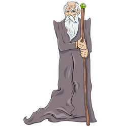 Old wizard cartoon character vector