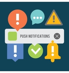 Push notifications elements set Background vector image