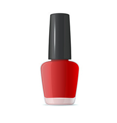Red nail polish bottle on white background vector