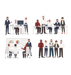set of office workers dressed in business clothing vector image vector image
