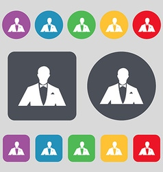 Silhouette of man in business suit icon sign A set vector image