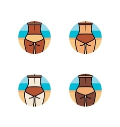 Healthy woman buttocks on the beach Different vector image