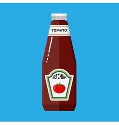 Glass bottle of traditional tomato ketchup vector