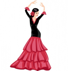 Woman dancing spanish dance vector