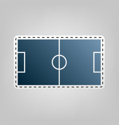 soccer field  blue icon with outline for vector image