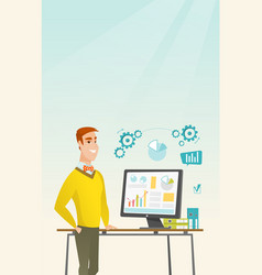 Businessman making presentation on computer vector