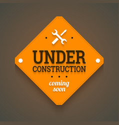 Under construction with coming soon label vector
