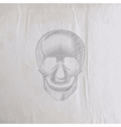 A hand-drawn pencil human skull on an old wrinkled vector