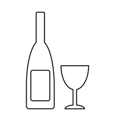 Bottle and glasse icon vector image