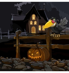 Cartoon house at night with a crow with a pumpkin vector