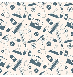 Seamless pattern with medical tools and pills vector