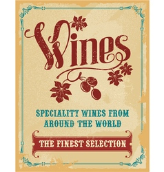 Vintage wine poster sign vector