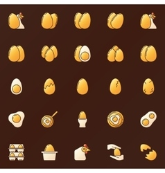 Yellow glossy eggs icons vector
