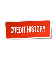 Credit history red square sticker isolated on vector