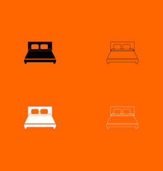 bed black and white set icon vector image vector image