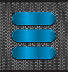 blue oval plates on metal perforated background vector image