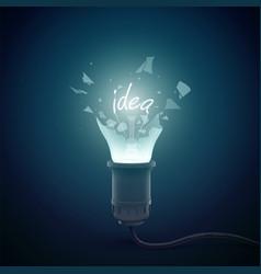 broken idea bulb background vector image