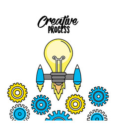 Bulb with thrusters and gears to creative process vector