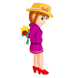 cartoon of a girl with a flower vector image vector image